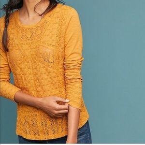 NEW Eze Sur Mer Marigold Crochet Pullover Knit Lon